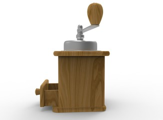 3d illustration of coffee grinder. white background isolated. icon for game web.