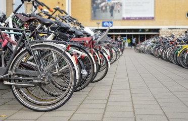 Eindhoven, the Netherlands - 15.09.2015: Bicycles parked close t
