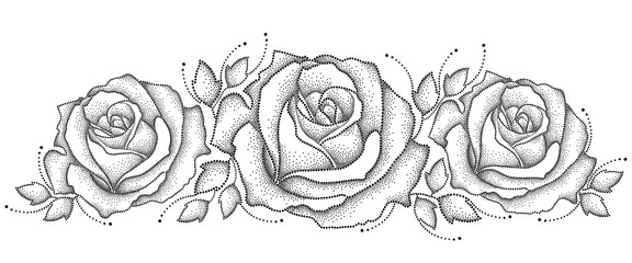 Vector illustration with three dotted rose flower and leaves in black isolated on white background. Floral elements with open rose in dotwork style for elegance design. Horizontal composition.