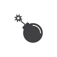 bomb icon vector, filled flat sign, solid pictogram isolated on white. Symbol, logo illustration