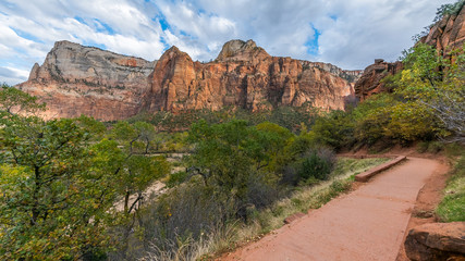 Beautiful sunny day during hike. A scenic view is seen from EMERALD POOLS TRAIL, Zion National Park, Utah, USA