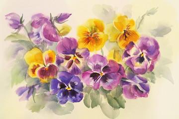 bouquet of violas watercolor