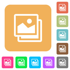 Pictures rounded square flat icons