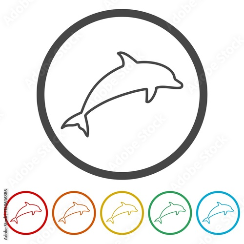 dolphin silhouettes icons set stock image and royalty free vector