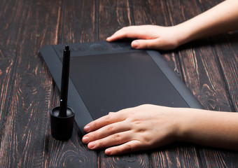 Hands designer and graphic tablet