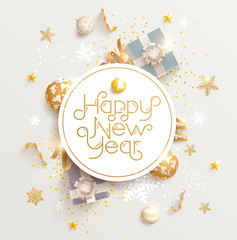 Happy New Year greeting card with gifts, balls and snowflake