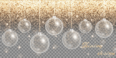 Christmas decoration vector. New year celebration. Bokeh lights. Golden background.