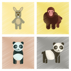 assembly flat shading style icons Panda monkey rabbit
