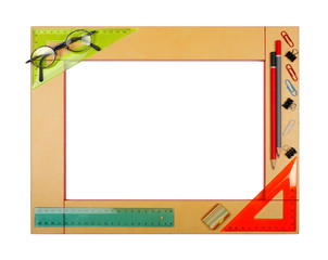 Yellow art school frame with stationery. Isolated