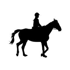 Horse riding, girl sitting on horseback, vector silhouette
