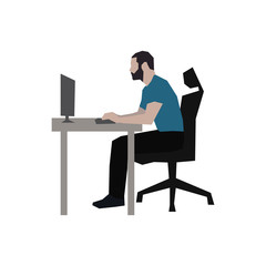 Man sitting at his desk working on computer, abstract vector sil