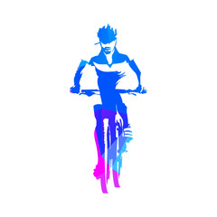 Mountain cyclist, abstract geometric blue cycling vector silhoue