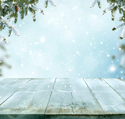 Merry christmas and happy new year greeting background with table
