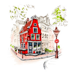 Color hand drawing, city view of Amsterdam typical house with stork and lantern, Holland, Netherlands. Picture made liner and markers
