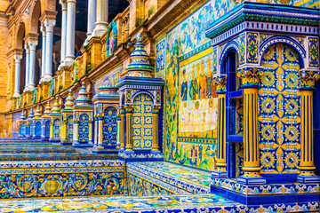 The tiled walls of Plaza de Espana. Seville. Spain. Wall mural