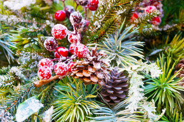 Fir branches, berry and cones as christmas decoration