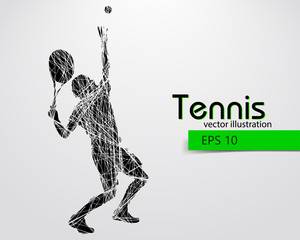 Silhouette of a tennis player.
