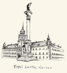 Hand drawn Royal Castle in Warsaw on ecru background