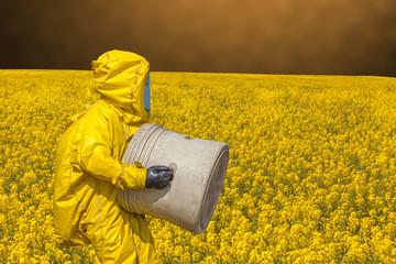 View of yellow rape field and men in protective hazmat suit