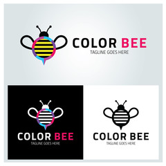 Color bee logo design template ,Vector illustration