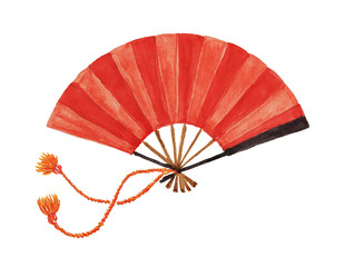 Japanese red fan painted with watercolor