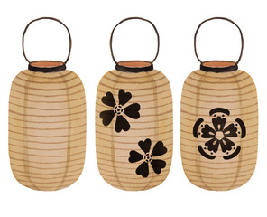 Japanese paper lanterns with sakura flowers painted with watercolor