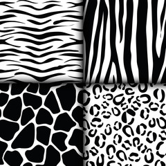 assorted animal print tiger giraffe zebra leopard pattern image vector illustration design