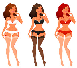 sexy cartoon pinup girls in lingerie