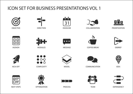 Reusable generic vector icon set for business presentations and slides with flag design