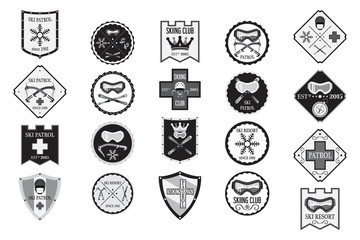 Set of flat ski logos, ski patrol, rental, skiing club.