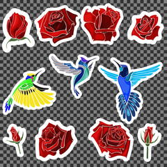 Birds and roses.