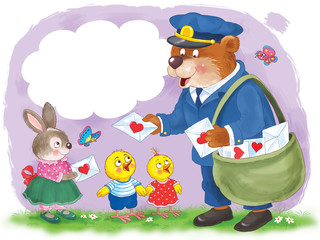 Greeting card for Valentine's Day. Cute animals. Illustration for children