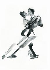 Akwarela Taniec Tango