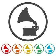 Old Gramophone icons set