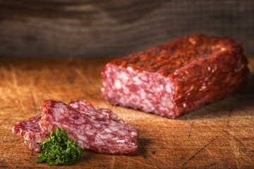 Sclices of fresh Italian salami