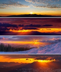 Set of dramatic sunset and sunrise in mountains. Amazing colorful landscapes