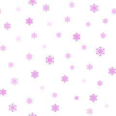 Snowflake simple seamless pattern. Pink snow on white background. Abstract wallpaper, wrapping decoration. Symbol of winter, Merry Christmas holiday, Happy New Year celebration Vector illustration
