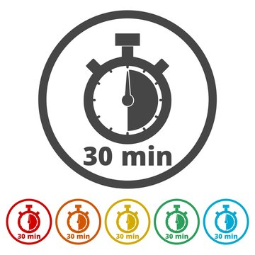 30 minutes stopwatch symbol, Timer icons set