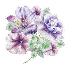 Floral card with flowers. Petunia. Alstroemeria. Watercolor illustration.