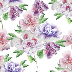 Seamless pattern with flowers. Petunia. Alstroemeria. Orchid. Watercolor illustration.