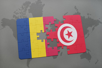 puzzle with the national flag of chad and tunisia on a world map