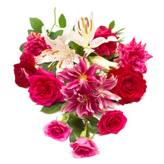 Beautiful bouquet of roses and lilies