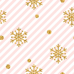 Christmas gold snowflake seamless pattern. Golden glitter snowflakes on pink and white diagonal lines background. Winter snow design wallpaper. Symbol holiday, New Year celebration Vector illustration