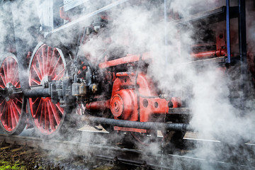 historical train close-up with steam