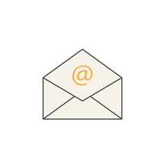 Open mail line icon, representing email, envelope, social media, filled vector graphics, a colorful linear pattern on a white background, eps 10.