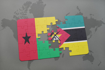 puzzle with the national flag of guinea bissau and mozambique on a world map