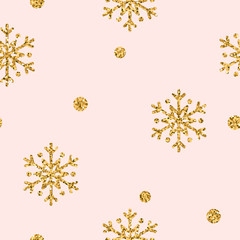 Christmas snowflake seamless pattern. Gold snow on pink background. Golden abstract wallpaper, wrapping texture. Symbol winter, Merry Xmas holiday, Happy New Year celebration. Vector illustration