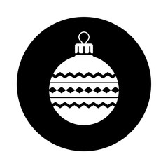 Christmas ball circle icon. Black round icon isolated on white background. Christmas ball simple silhouette. Web site page and mobile app design vector element.