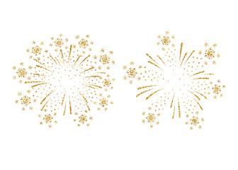 Fireworks gold isolated set. Beautiful golden firework on white background. Bright decoration for Christmas card, Happy New Year celebration, anniversary, festival. Flat design Vector illustration