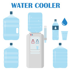 Office water set. Water cooler set. Bottles and plastic cups of water. Vector illustration